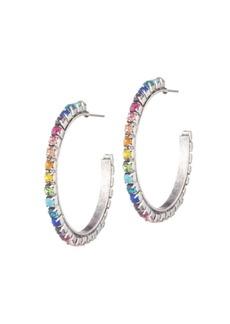 Dannijo Vega Rainbow Crystal & Brassplated Silver Hoop Earrings