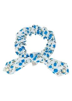 Dannijo white and blue Nina crystal floral print cotton bracelet