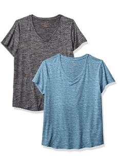 Danskin Women's 2 Pack Essential V Neck T-Shirt