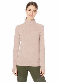 Danskin Women's Active 1/4 Zip Wicking Pullover Top Pale Mauve space-98404