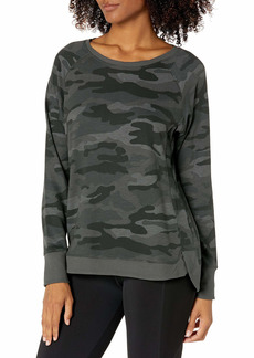 Danskin Women's Long Sleeve Printed Crew Neck Pullover