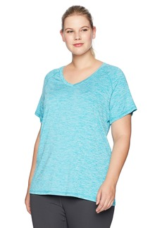 Danskin Women's Plus Size Heather Active V-Neck T-Shirt
