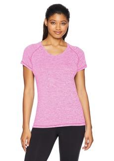 Danskin Women's Plus Size Heather Active V-Neck T-Shirt neon Magenta