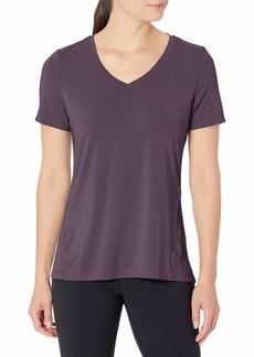 Danskin Women's Short Sleeve V-Neck Brushed T-Shirt
