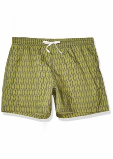 Danward Men's Feather Print Elastic Waist Capri Swim Trunk