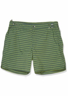 Danward Men's Square Print Fixed Waist Palma Swim Trunk