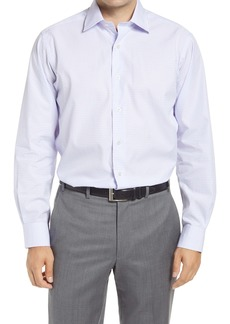 David Donahue Regular Fit Dobby Check Dress Shirt