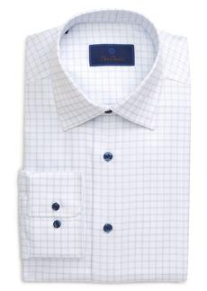 David Donahue Regular Fit Windowpane Dress Shirt