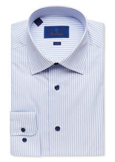 David Donahue Shadow Stripe Trim Fit Dress Shirt