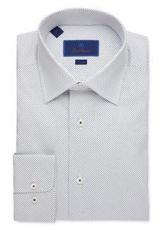 David Donahue Small Dot Trim Fit Dress Shirt