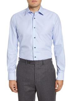 David Donahue Trim Fit Check Dress Shirt