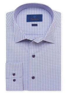 David Donahue Trim Fit Check Textured Performance Dress Shirt