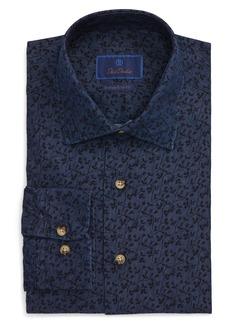 David Donahue Trim Fit Floral Dress Shirt