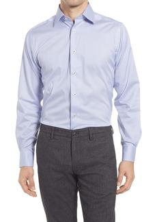 David Donahue Trim Fit Horizontal Diamond Print Dress Shirt