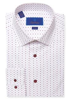 David Donahue Trim Fit Mini Floral Dress Shirt