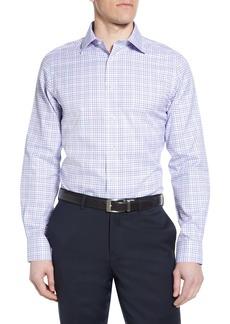 David Donahue Luxury Non-Iron Trim Fit Check Dress Shirt