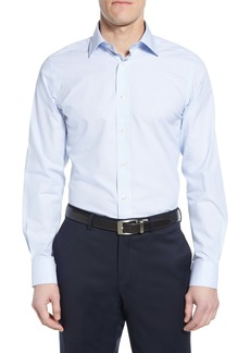 David Donahue Luxury Non-Iron Trim Fit Stripe Dress Shirt