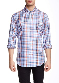 David Donahue Long Sleeve Regular Fit Plaid Sport Shirt