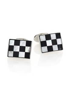 David Donahue Sterling Silver, Onyx & Mother of Pearl Checkered Cuff Links