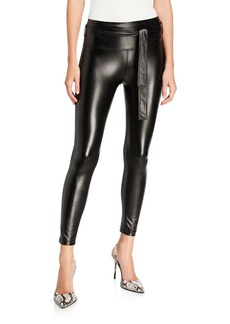 David Lerner Belted High-Waist Faux-Leather Leggings