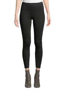 David Lerner Cropped Moto Leggings with Microsuede Trim