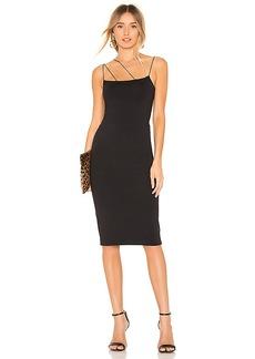 David Lerner Asymmetrical Strap Midi Dress