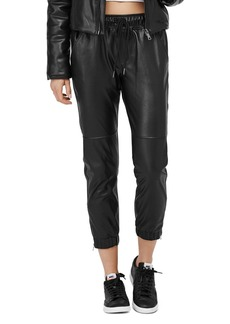 David Lerner Blake Faux Leather Jogger Pants
