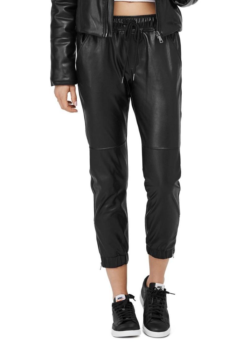 David Lerner Blake Faux Leather Jogger Pants