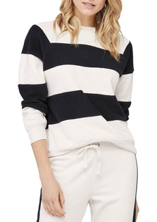 David Lerner Erin Striped Fleece Sweatshirt