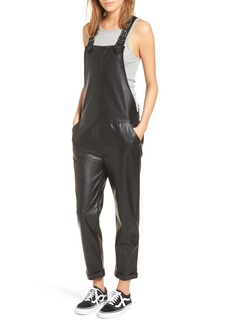 David Lerner Faux Leather Overalls