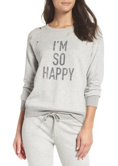 David Lerner I'm So Happy Distressed Sweatshirt