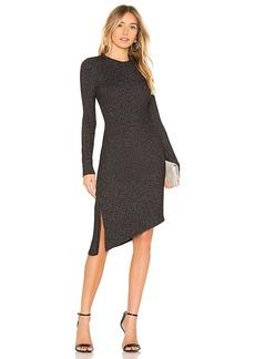 David Lerner Long Sleeve Asymmetrical Ruched Dress