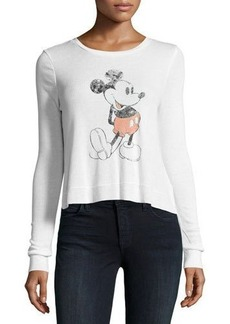 David Lerner Mickey Mouse Long-Sleeve Ribbed Graphic Tee