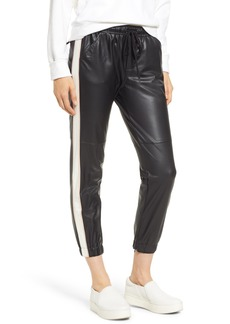 David Lerner Side Stripe Faux Leather Jogger Pants