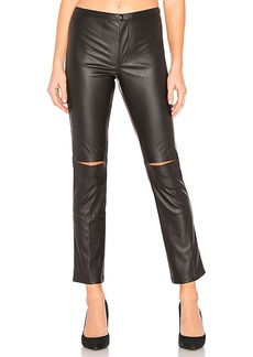 David Lerner Skinny Split Knee Faux Leather Pant