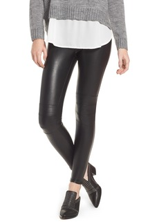 David Lerner Zip Cuff Faux Leather Moto Leggings