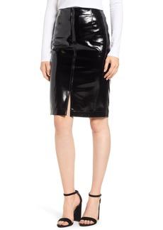 David Lerner Zip Front Faux Leather Pencil Skirt