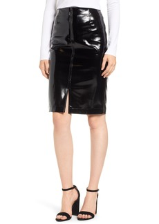 David Lerner Zip Front Faux Leather Pencil Skirt