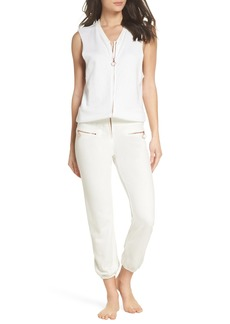 David Lerner Zip Front Lounge Jumpsuit