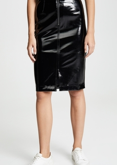 David Lerner Zip Front Pencil Skirt with Front Slit