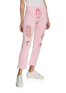 David Lerner Distressed Flared Jogger Pants
