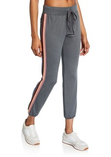 David Lerner Drawstring Jogger Pants with Side Stripes