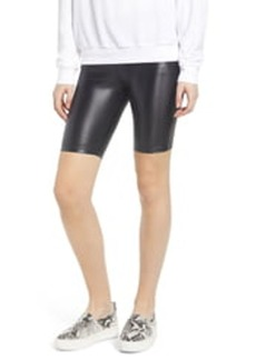 David Lerner Faux Leather Bike Shorts