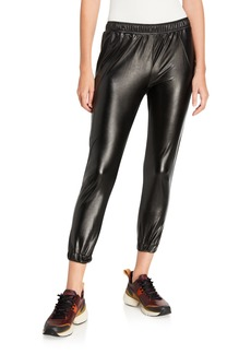 David Lerner Faux-Leather Track Pants