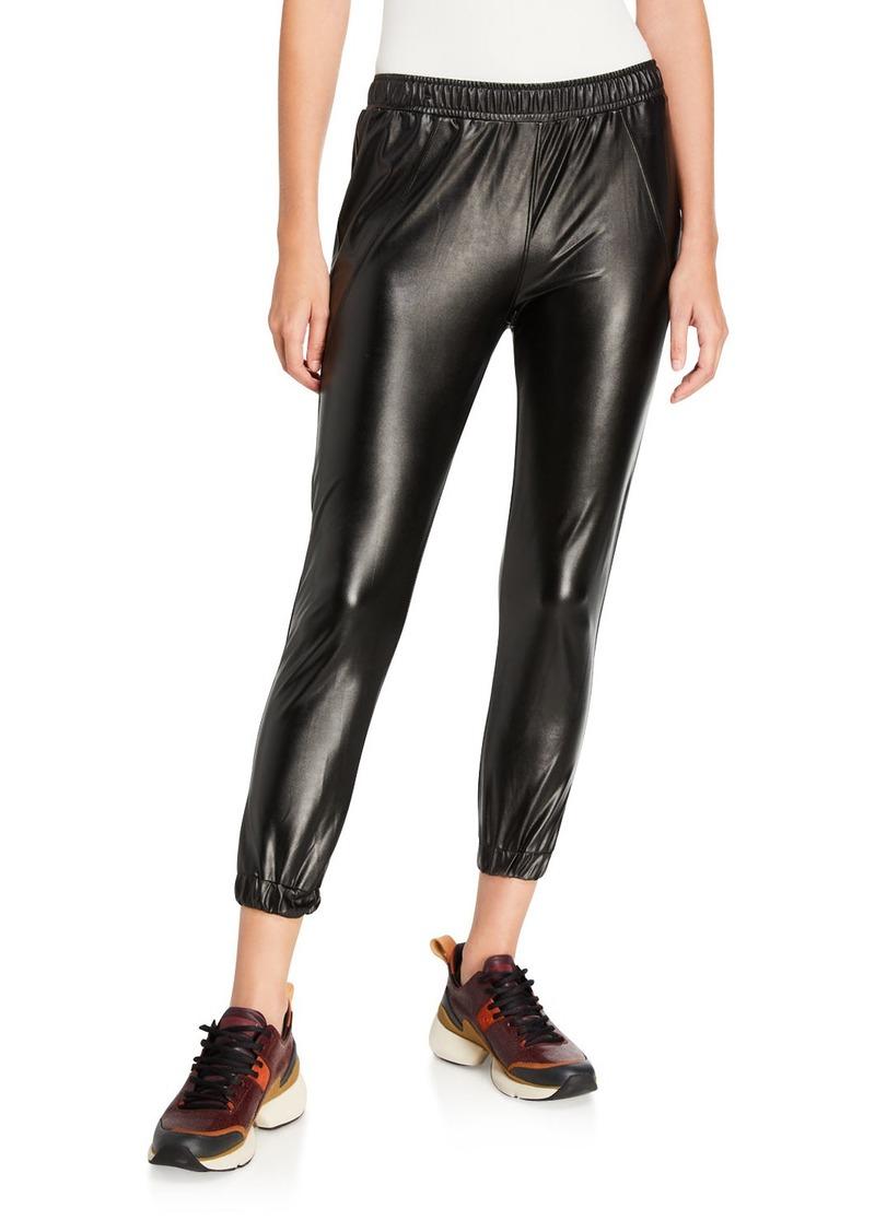 David Lerner Faux-Leather Track Pants