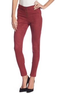 David Lerner Faux Suede Front Zip Leggings