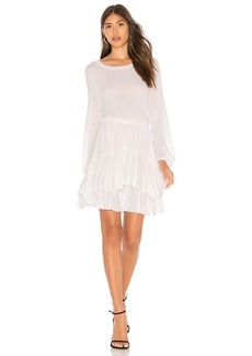 David Lerner Long Sleeve Dress With Tiered Ruffle