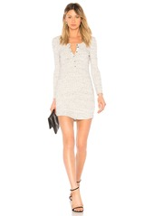 Long Sleeve Henley T Shirt Dress in Light Gray. - size L (also in M,S,XS) David Lerner