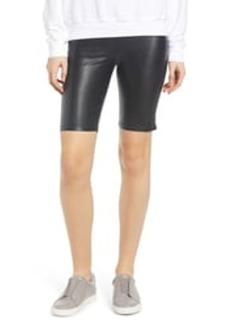 David Lerner Stretch Faux Leather Bike Shorts