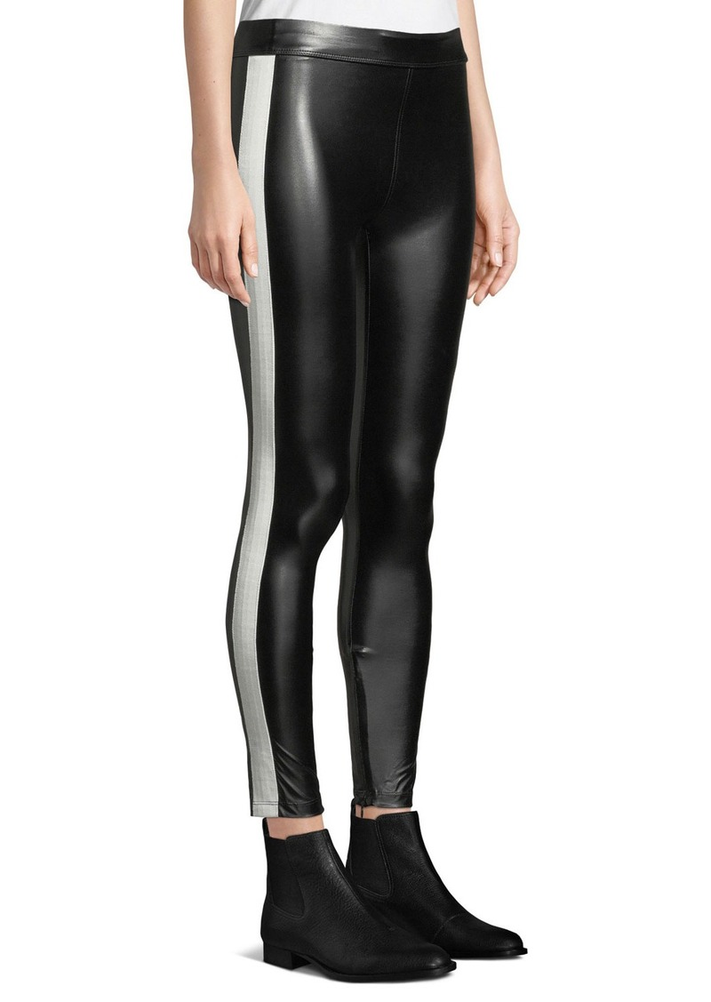 6011de550629a David Lerner Tuxedo Side-Striped Vegan Leather Leggings | Casual Pants